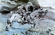 Galloping Paintings - Galloping Rider  by Pg Reproductions
