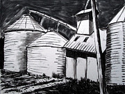 Corn Drawings Prints - Galvanized Silos Waiting Print by Charlie Spear