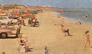 Galveston Paintings - Galveston Beach in Texas by Nop Briex