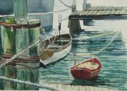 Galveston Paintings - Galveston Boats watercolor by Judy Loper