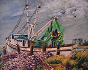 Shrimp Boat Pastels Prints - Galveston Shrimp Boat Print by Barbara Richert