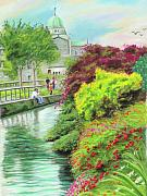 Vanda Luddy Prints - Galway Cathedral view fron the canal Print by Vanda Luddy