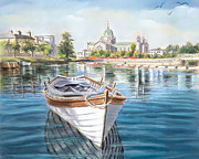 Water Pastels - Galway Cathedral View  by Vanda Luddy