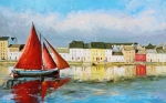 Fishing Village Painting Posters - Galway Hooker Leaving Port Poster by Conor McGuire