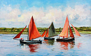 Sail Boats Painting Prints - Galway Hookers Print by Conor McGuire