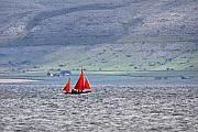 Burren Photo Acrylic Prints - Galway Hookers Sailing in Galway bay with the mountains of the burren in the background Acrylic Print by Pierre Leclerc