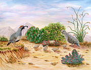 Desert Wildlife Paintings - Gambel Quails Day in the Life by Judy Filarecki