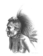 Pencil Native American Drawings - Gambler by Lee Updike