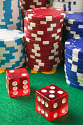 Game Photo Prints - Gambling dice Print by Garry Gay