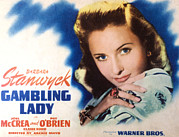 Lobbycard Framed Prints - Gambling Lady, Barbara Stanwyck, 1934 Framed Print by Everett