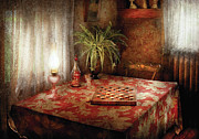 Table Cloth Metal Prints - Game - Checkers - Checkers Anyone Metal Print by Mike Savad