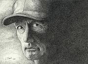 Baseball Portraits Drawings Originals - Game Face by Lawrence Tripoli