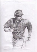 Braves Drawings - Game In Motion by Garrett Wright
