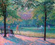 Bench Paintings - Game of Tennis by Spencer Frederick Gore