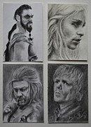 Miniature Drawings - Game of Thrones group by Lynn Hughes