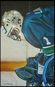 Goalie Painting Framed Prints - Game On Framed Print by Gordon Paterson