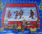Ice Hockey Paintings - Game On by Jill Alexander