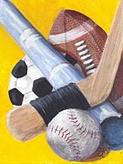 Softball Painting Posters - Game On Poster by Susan Bruner