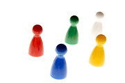 Figurines Photos - Game pieces in various colours by Bernard Jaubert