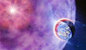 Supernovae Posters - Gamma Ray Burst Hits Earth Poster by Detlev Van Ravenswaay