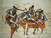 Dancers Tapestries - Textiles - Ganda Dancers by Joseph Kalinda