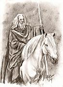 Lord Of The Rings Drawings Posters - Gandalf with Shadowfax Poster by Maren Jeskanen