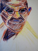 Leaders Drawings Prints - Gandhi Portrait Print by Kathleen Fitzpatrick