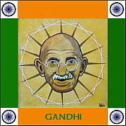 Gandhi Prints - Gandhi portrait Print by Paul Helm