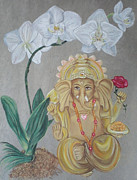 Buddhist Pastels Framed Prints - Ganesh Dancing Under Orchids Framed Print by Ann Marie Napoli