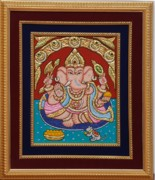 Gifts Mixed Media Originals - Ganesh ji Tanjore Art by Vimala Jajoo