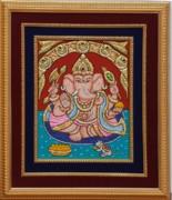 Ganesh Ji Tanjore Art Print by Vimala Jajoo