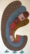 Gond  Drawings - Ganesha Ds 206 by Dilip Shyam