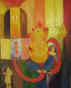 Vinayaka Paintings - Ganesha by Gnana Prakash Neel