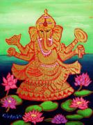 Lotus Pond Paintings - Ganesha by Rivkah Singh