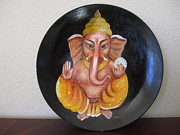 Ganapathi Paintings - Ganesha by Swaroopa