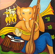 Ganapati Paintings - Ganesha by Varsha Vaish