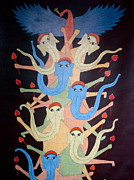 Gond Paintings - Ganeshas by Bhajju Shyam