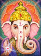 Elephant Painting Prints - Ganeshas Blessing Print by Sue Halstenberg