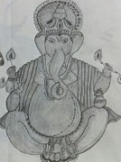 Hindu Drawings Posters - Ganeshji Poster by Monika