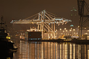Tugboat Prints - Gantry Crane At Night Print by Ilona Berzups
