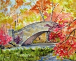 New York City Drawings Framed Prints - Gapstow Bridge in November Framed Print by Chris Coyne