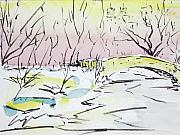 Central Park Drawings - Gapstow in winter by Chris Coyne