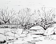 Central Park Drawings - Gapstow with snow by Chris Coyne