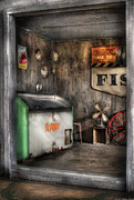 Garage Prints - Garage - Just behind the Garage Print by Mike Savad