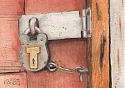 Garage Paintings - Garage Lock Number Four by Ken Powers