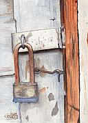 Garage Paintings - Garage Lock Number One by Ken Powers