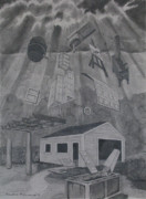 Shack Drawings Prints - Garage Renewal Print by Art Nomad Sandra  Hansen