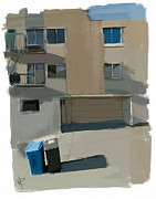 Garage Mixed Media - Garbage Day on Dolores Street by Russell Pierce