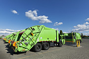 Garbage Truck Prints - Garbage Trucks Parked Print by Don Mason