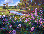 Gardenscapes Painting Framed Prints - Garden Along the River Framed Print by David Lloyd Glover